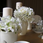 Greenscape Design Close Up Double White Floral Centrepiece Champagne Linens