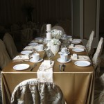 Greenscape Design White Florals and Champagne Linens