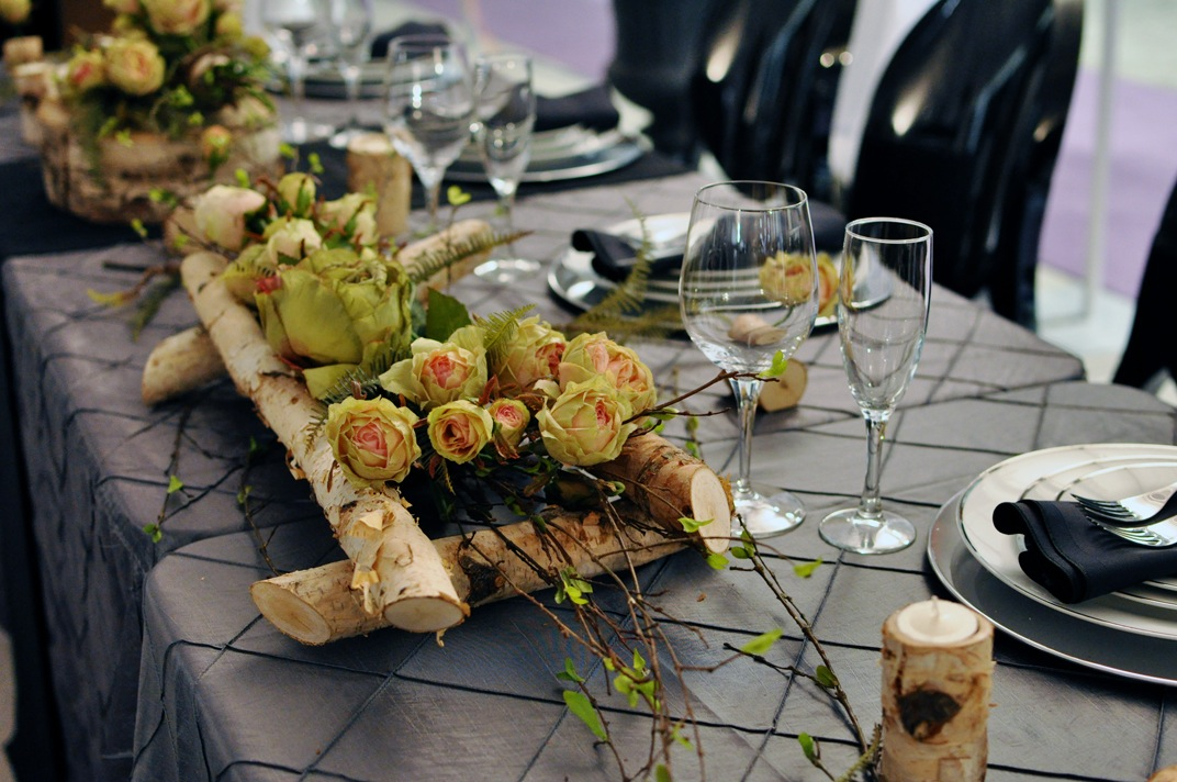 Outdoor wedding decor greenscape candleholders greenscape design white birch and spring floral head table centrepiece junglespirit Gallery