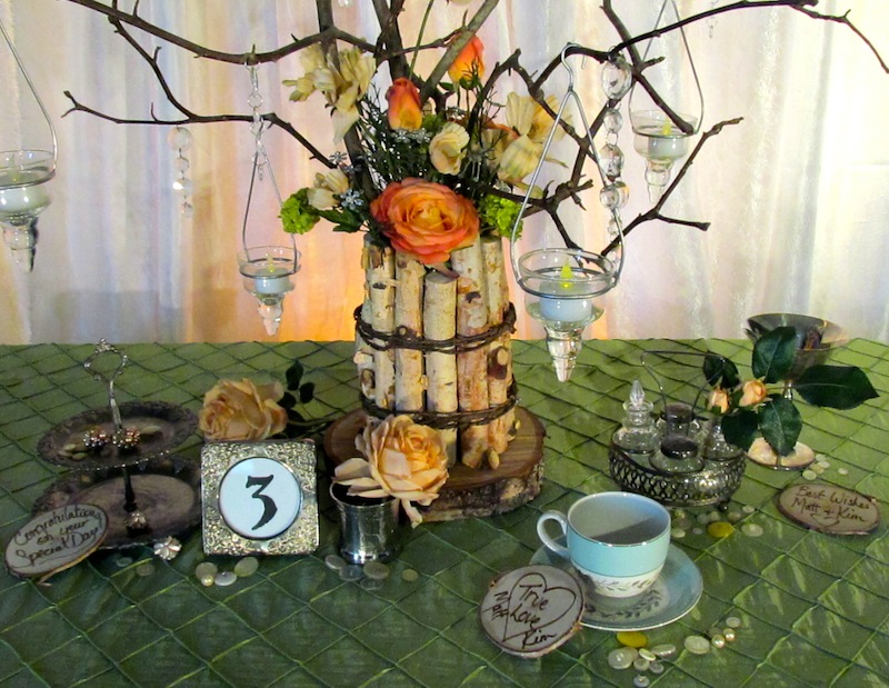 Greenscape Design Willow Branch and Birch Centrepiece with Crystals and Peach Coral Green Flowers