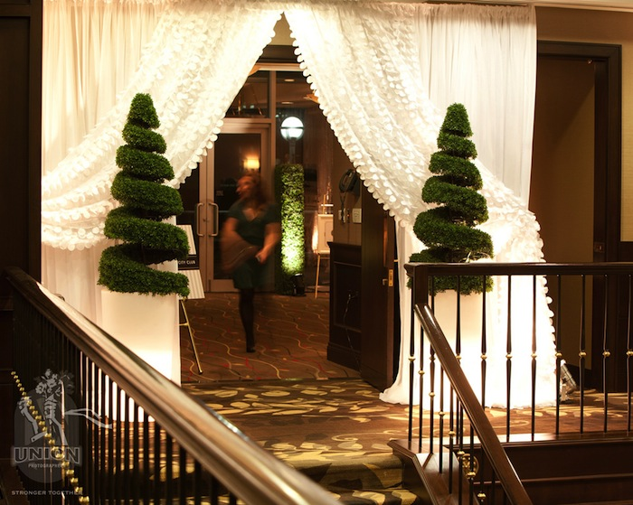 Greenscape Design Emerald green Boxwood Spiral Topiary Wedding Decor Entrance