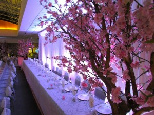Greenscape Design Head Table Crystal Backdrop and Cherry Blossom Tree Wedding Decor Rentals