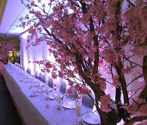 Greenscape-Design-Head-Table-Wedding-Backdrop-Cherry-Blossoms-Crystal-Curtain1