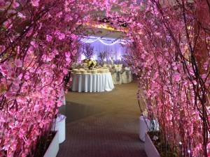 Greenscape-Design-Pink-Cherry-Blossom-Archway-Villa-Amato-Vancouver-Wedding