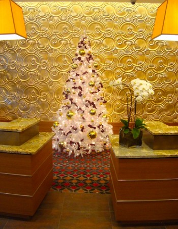 Greenscape Design White Christmas Tree Hotel Lobby Decor