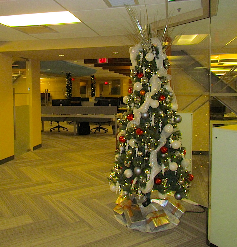 Greenscape Design Burnt Orange and Silver Holiday Decor Office Lobby