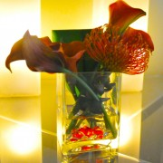 Greenscape Design Burnt Orange Calla Lily and Pincushion Protea Centrepiece copy