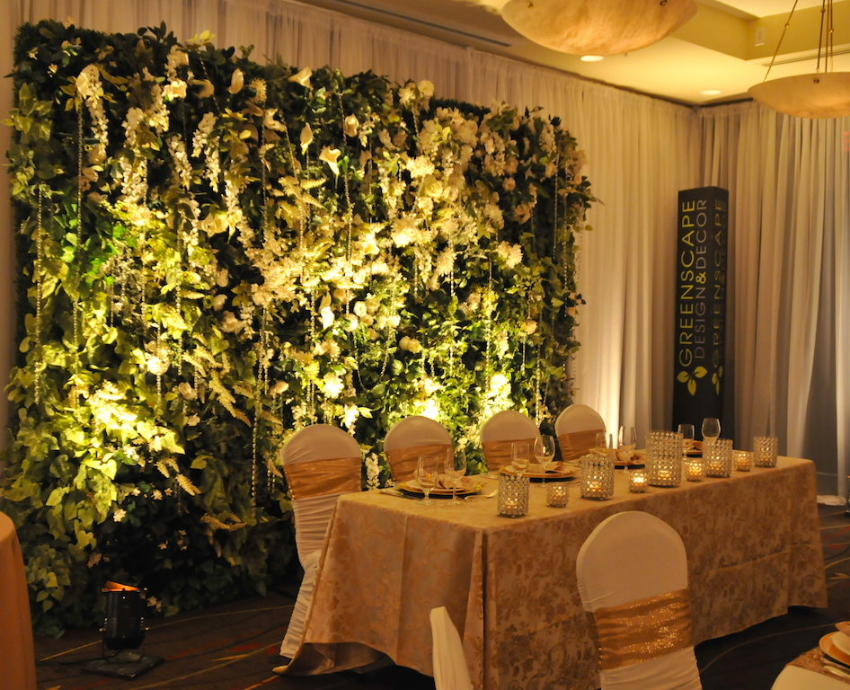 Greenscape Design Faux Living Wall Wedding Head Table Back Drop