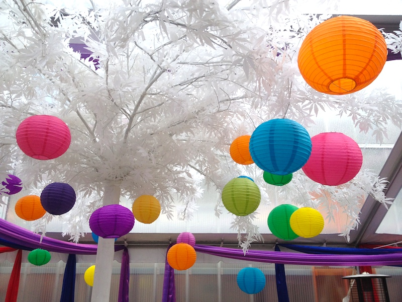 Greenscape Design White Maple Tree and Colorful Chinese Lanterns Garden Party Event Decor Rentals Vancouver
