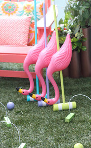 Greenscape Design - Queen of Hearts flamingo croquet alice in wonderland theme