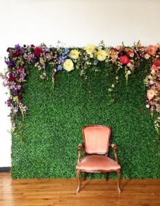 Greenscape Design - boxwood backdrop floral wall alice in wonderland themed